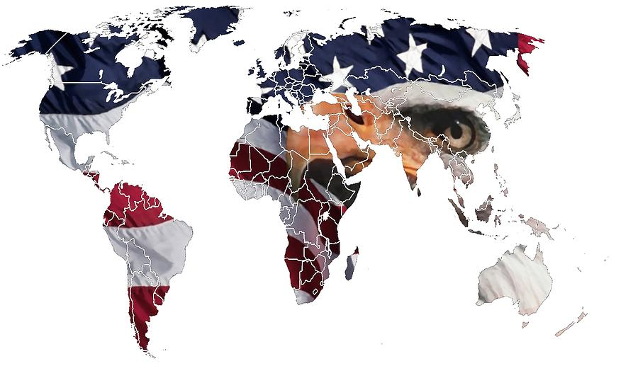 Map World Digital Art Atlas Country America Africa Asia Europe Australia Color Colorful Expressionism Impressionism Save American Usa Stars Stripes Flag Digital Art - Under The Eagles Eyes by Steve K