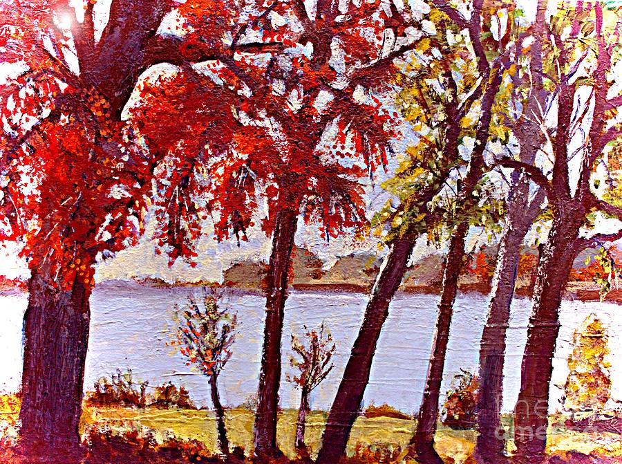 Charles River Painting - Under The Maple Along The Charles River by Rita Brown