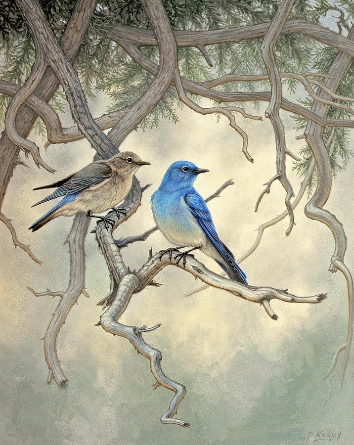 Wildlife Painting - Under The Old Juniper-mountain Bluebirds by Paul Krapf
