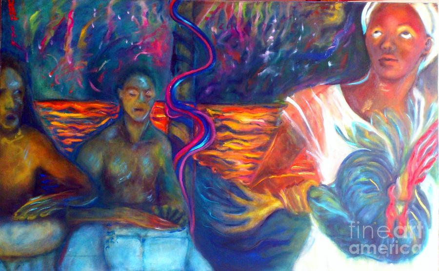 Vodou Painting - Under The Peristyle by Jenny Goldman