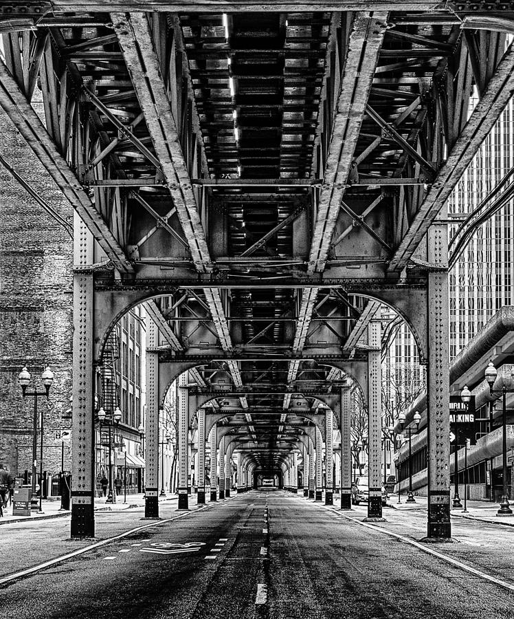 Train Photograph - Under The Red Line by Mike Burgquist