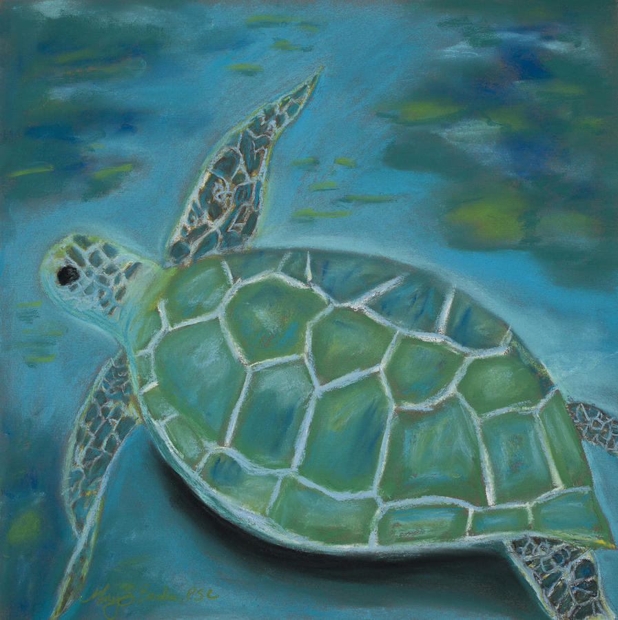 Turtle Painting - Under The Sea by Mary Benke