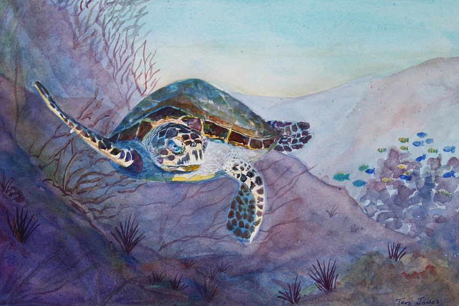 Turtle Painting - Under The Sea by Teri  Jones