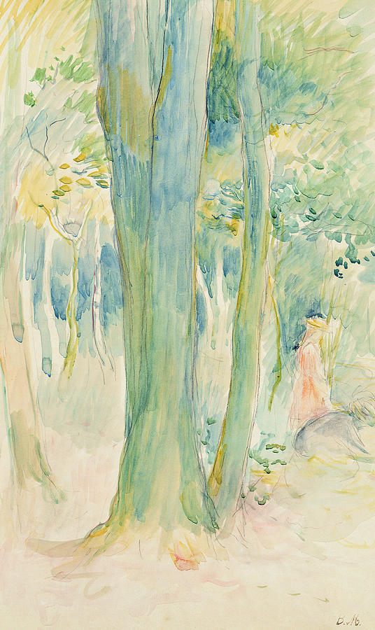 Berthe Painting - Under The Trees In The Wood by Berthe Morisot