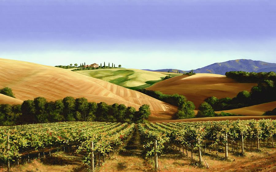 Tuscan Landscape Painting - Under The Tuscan Sky by Michael Swanson
