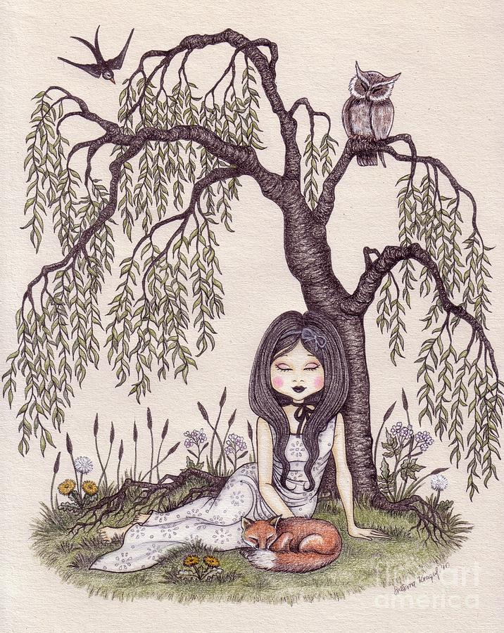 Under The Willow Tree Drawing By Snezana Kragulj