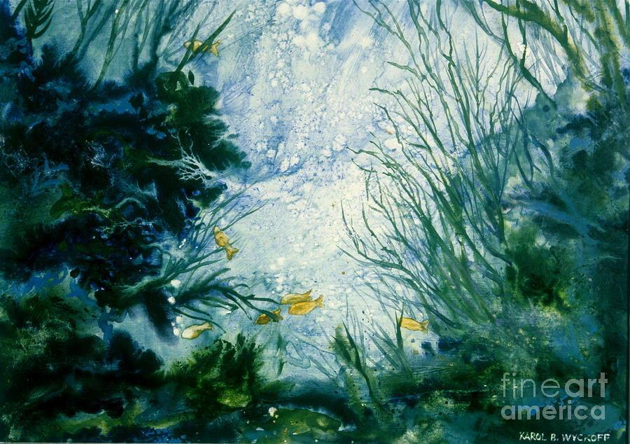 Bubbles Painting - Under Water View by Karol Wyckoff