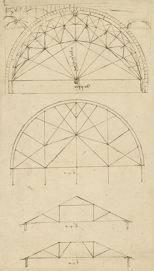 Leonardo Drawing - Underdrawing For Building Temporary Arch by Leonardo Da Vinci