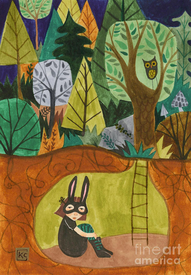 Bunny Mask Painting - Underground by Kate Cosgrove