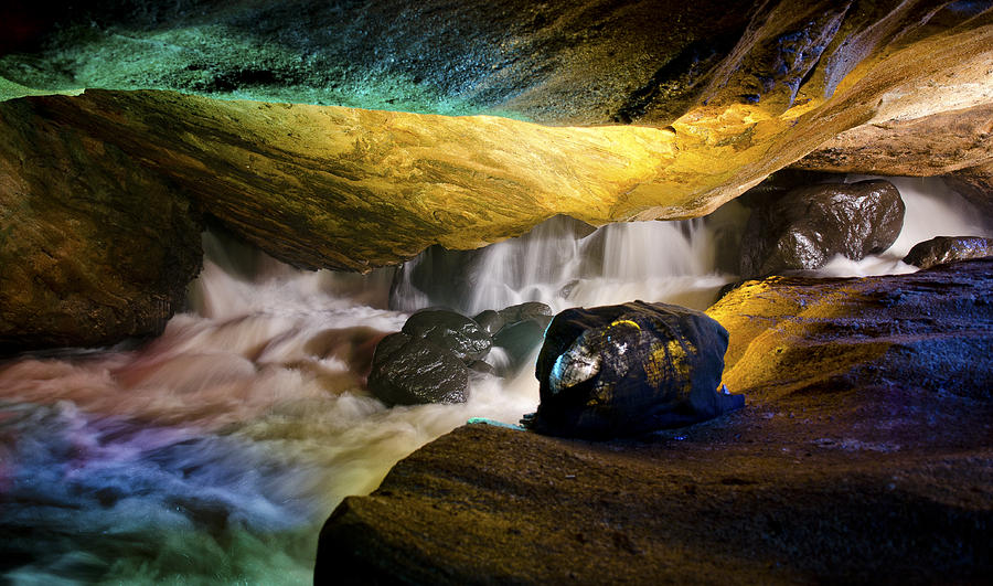 Cave Photograph - Underground Waterfall 2 by Mark Papke