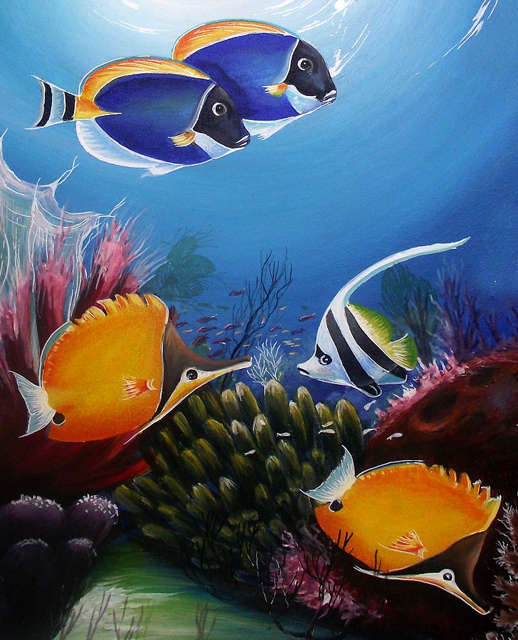 Underwater-7 Painting by Naushad Waheed