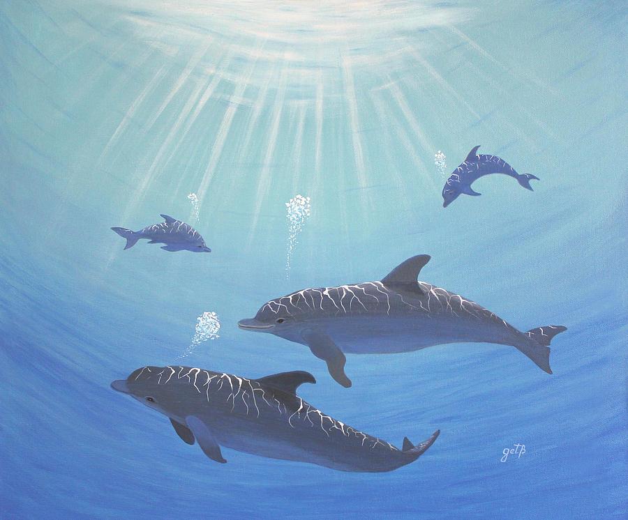 Dolphins Painting - Underwater Dolphins Original Acrylic Painting by Georgeta  Blanaru