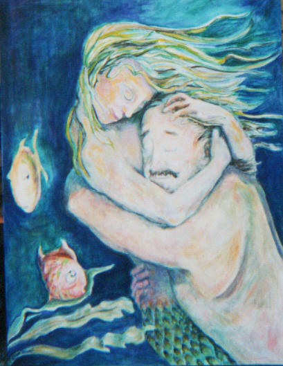 Mermaid Painting - Underwater Embrace by Ellen Howell