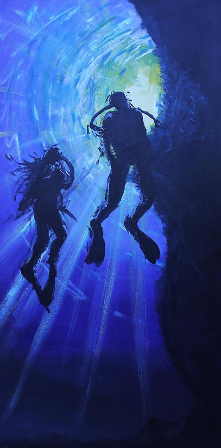 Underwater Painting - Underwater Lovers by Morphd Mohawk