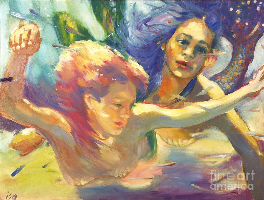 Mermaids Painting - Underwater Mermaids  by Isa Maria