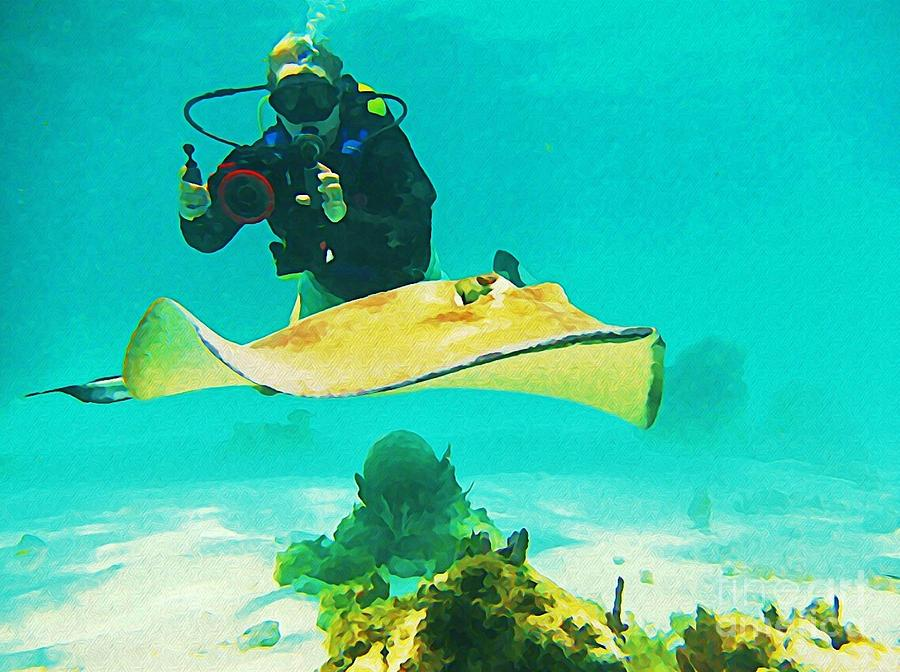 Scuba Diving Photograph - Underwater Photographer And Stingray by John Malone Halifax Artist