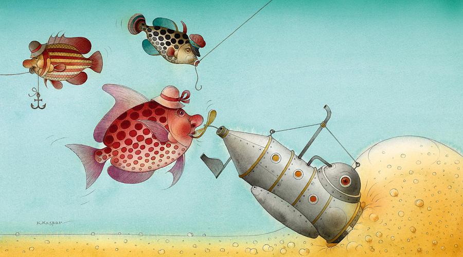 Underwater Story 04 Painting by Kestutis Kasparavicius