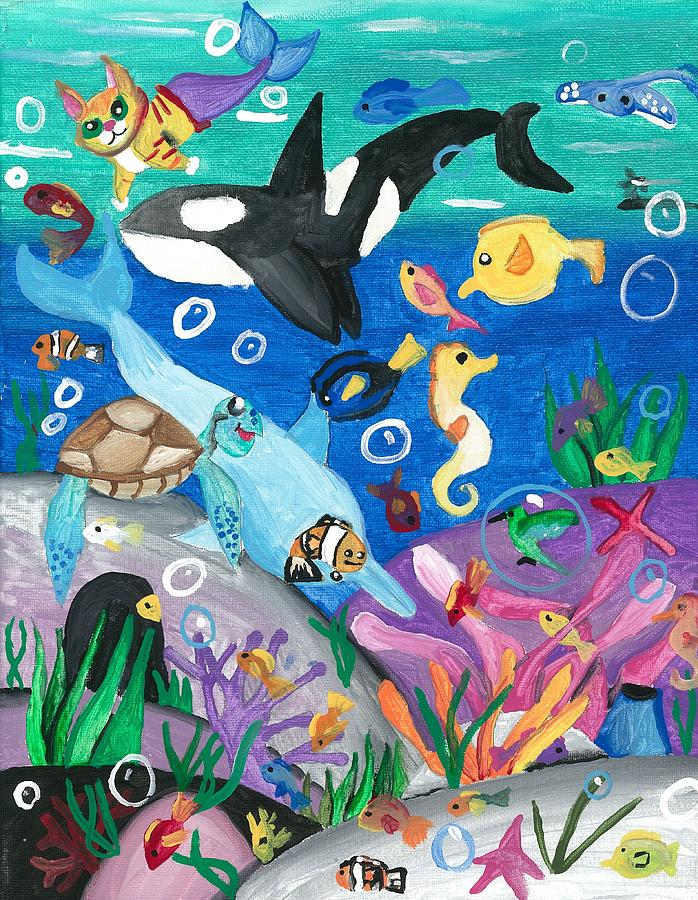Underwater Painting - Underwater With Kitty And Friends by Artists With Autism Inc