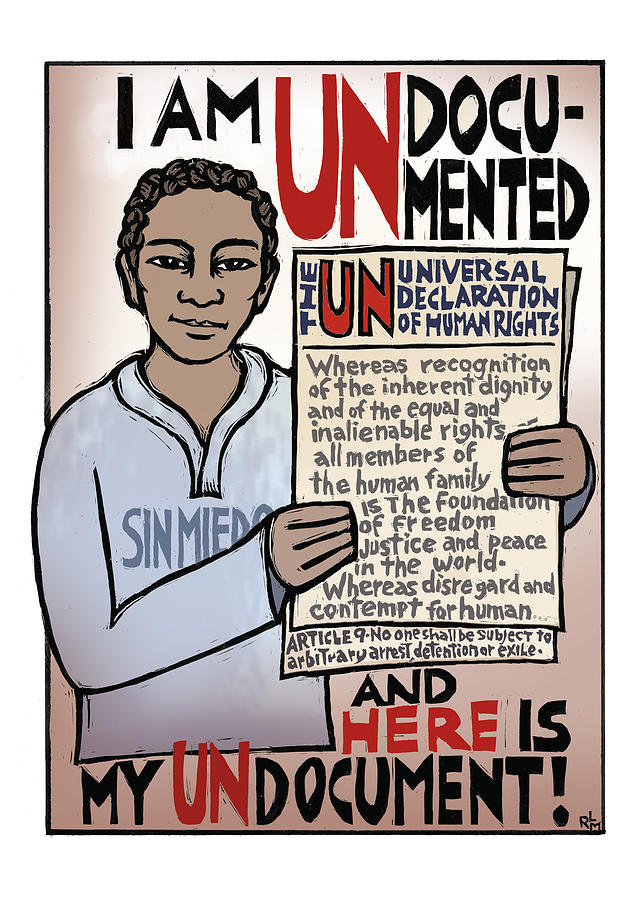 Immigrant Mixed Media - Undocumented by Ricardo Levins Morales