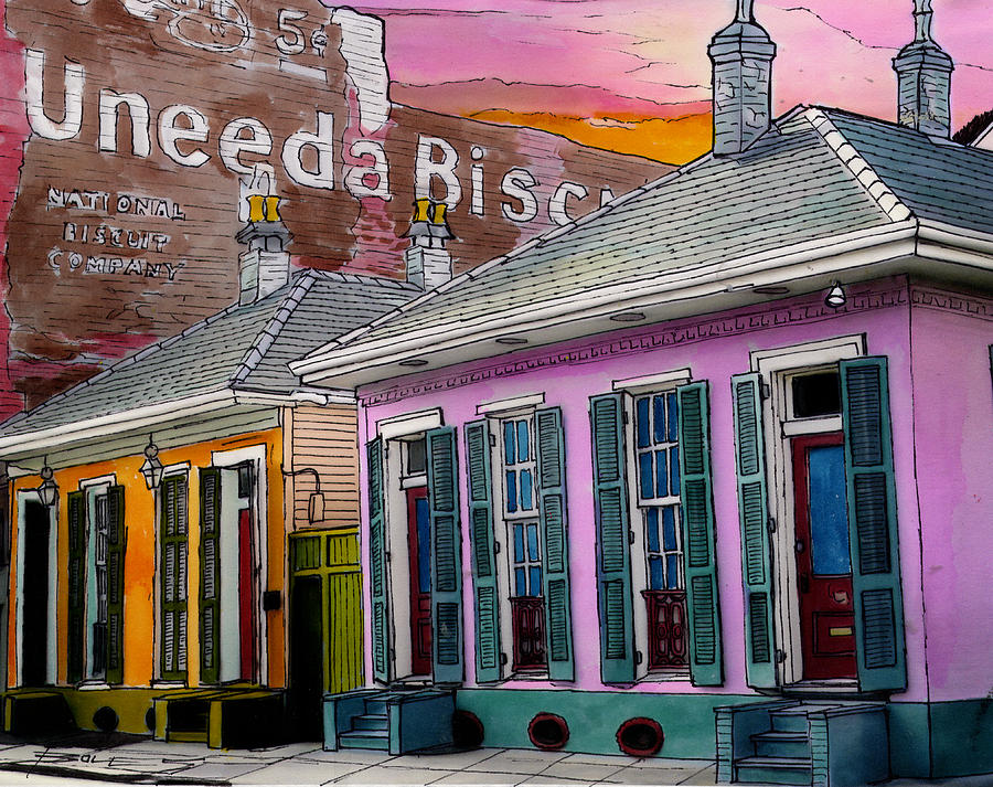 French Quarter Painting - Uneeda Bisquit Building 383 by John Boles