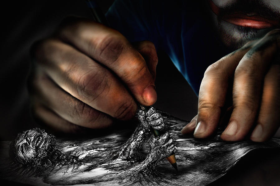 Hands Digital Art - Unfinished by Alessandro Della Pietra