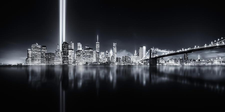 Night Photograph - Unforgettable 9-11 by Javier De La