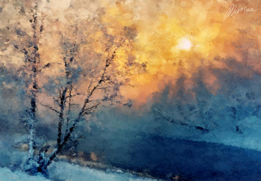 Winter Painting - Unfrozen River by Marina Likholat