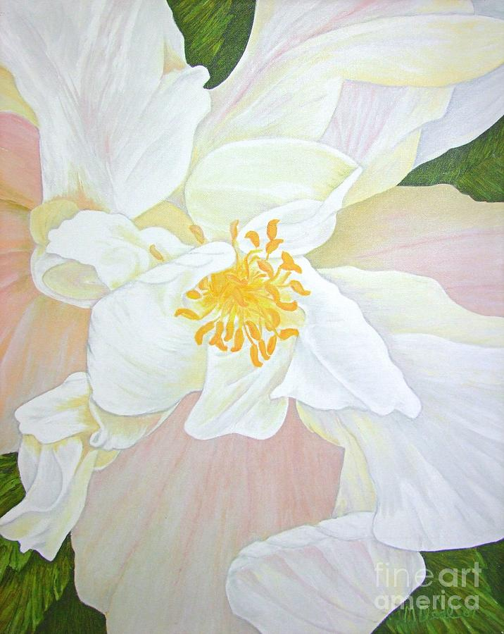 White Painting - Unfurling White Hibiscus by Mary Deal