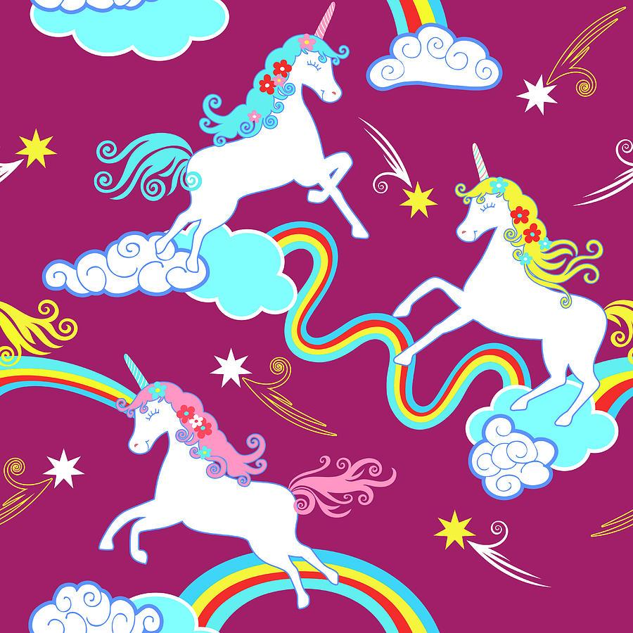 Unicorn Fantasy Pattern, Childrens Digital Art by Dudi-art