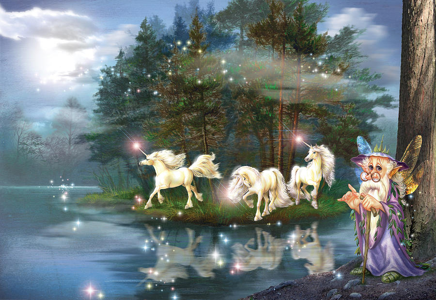 Blue Photograph - Unicorn Wizard Pool by MGL Meiklejohn Graphics Licensing