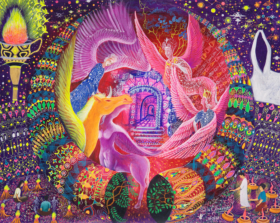 Pablo Amaringo Painting - Unicornio Dorado by Pablo Amaringo