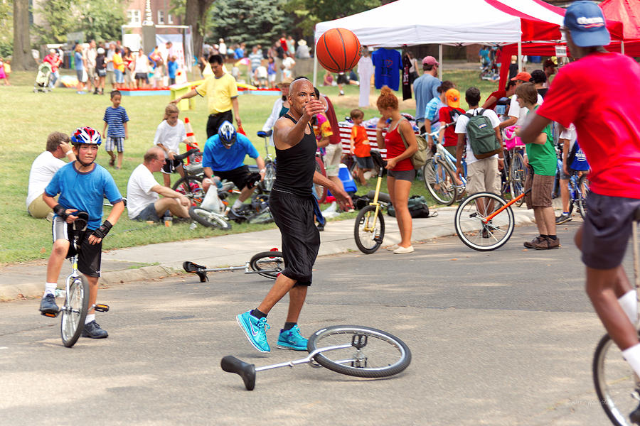 Unicycle Photograph - Unicyclist - Basketball - Street Rules  by Mike Savad