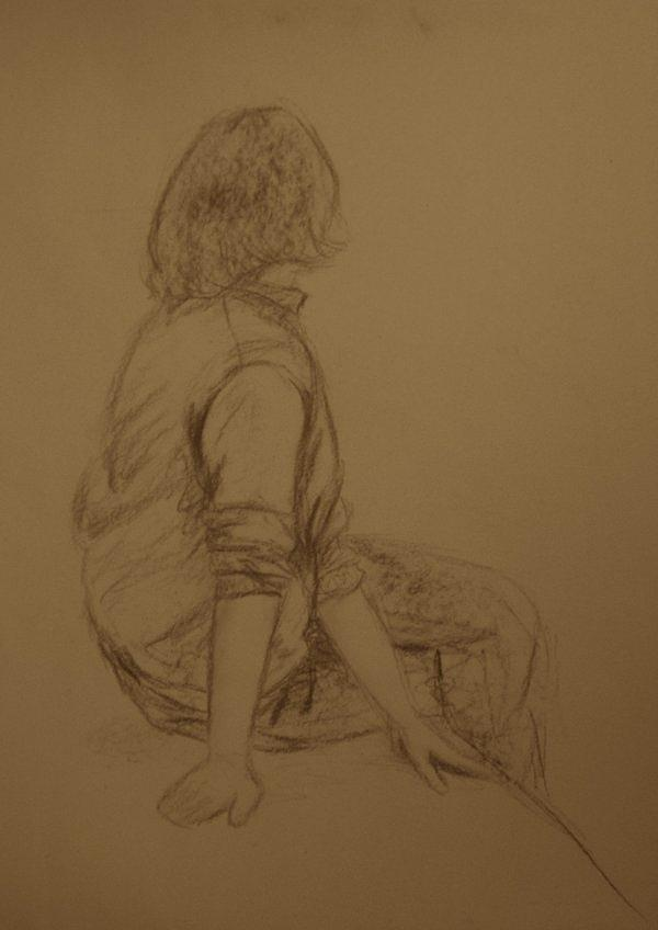 Female Drawing - Uninterested by Steve Spagnola