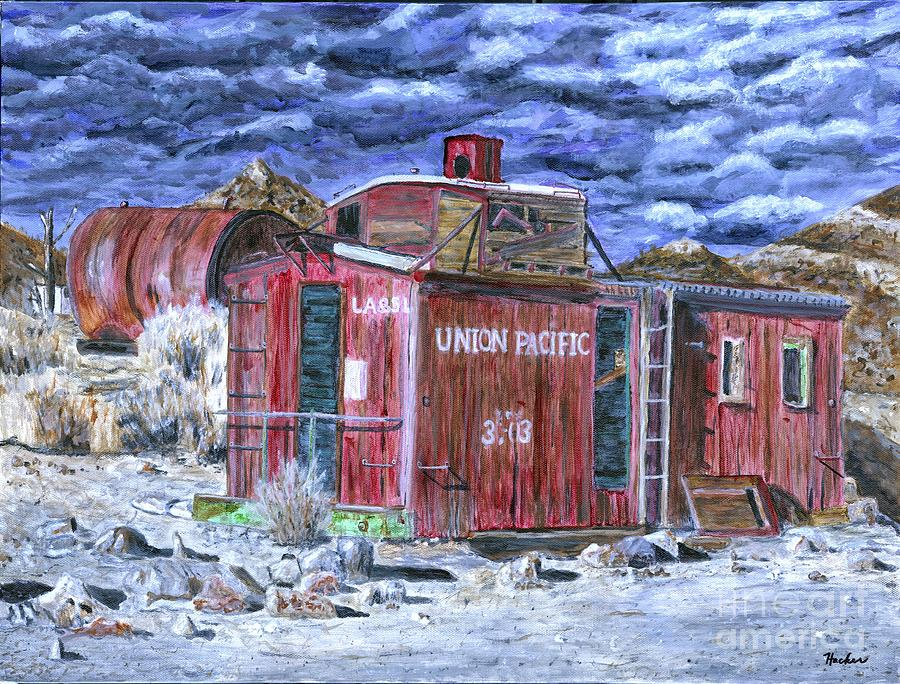 Train Painting - Union Pacific Train Car Painting by Timothy Hacker