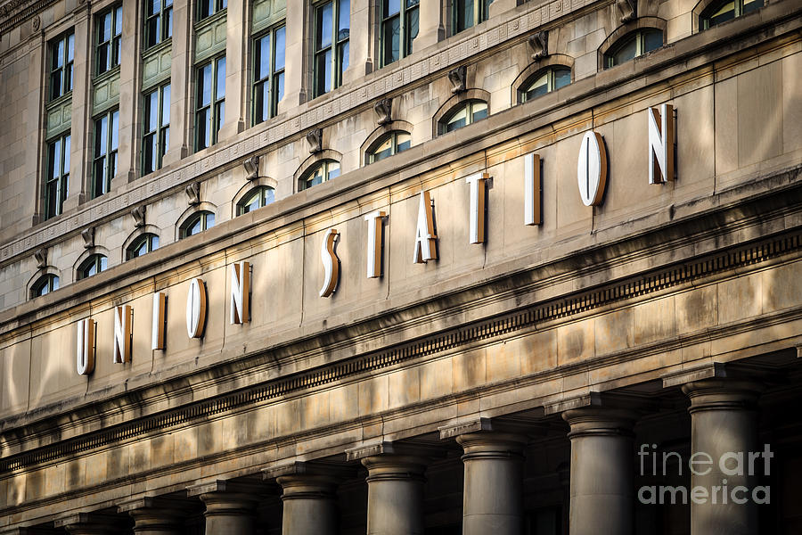 America Photograph - Union Station Chicago Sign And Building by Paul Velgos