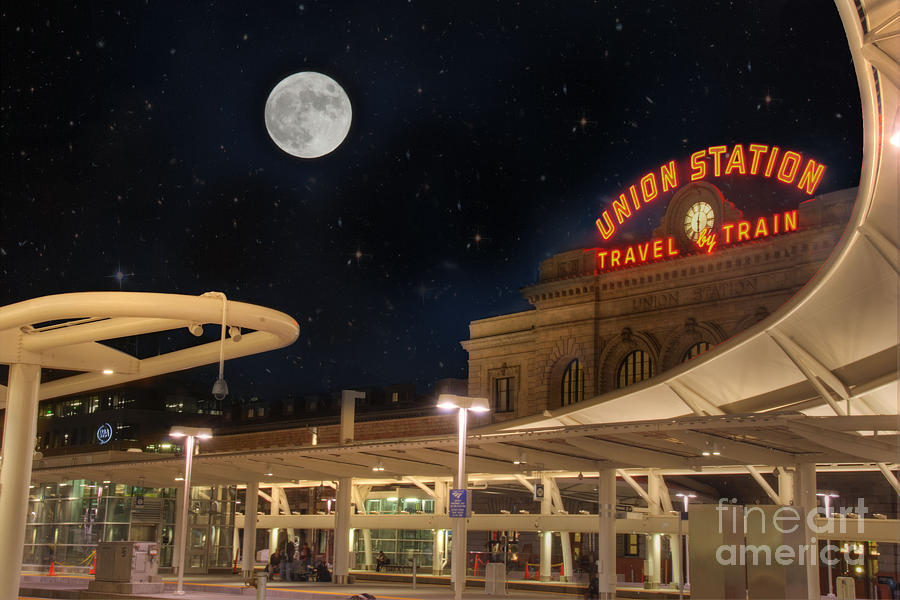Architecture Photograph - Union Station Denver Under A Full Moon by Juli Scalzi