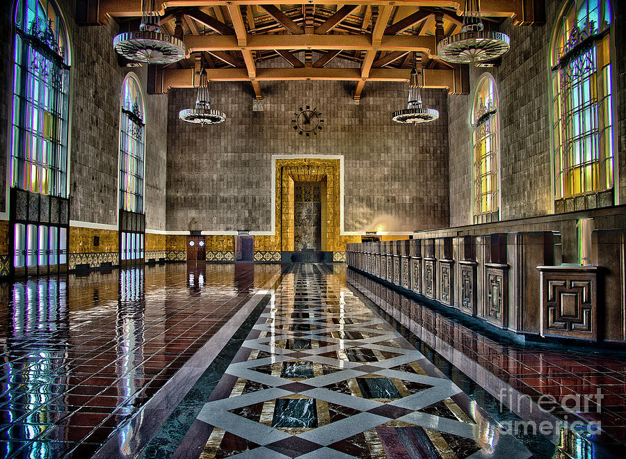 Hdr Photograph - Union Station Interior- Los Angeles by David Doucot