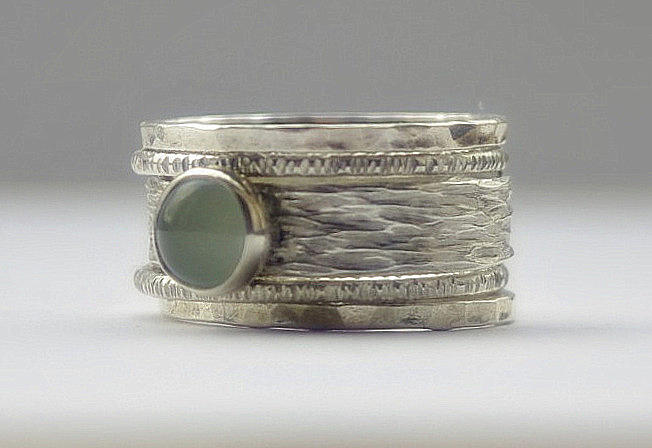 ee8fe1fd5b6 Jewelry Jewelry - Unique Aquamarine Rustic Hammered Recycled Sterling Silver  Stackable Wedding Ring Set by Nadina