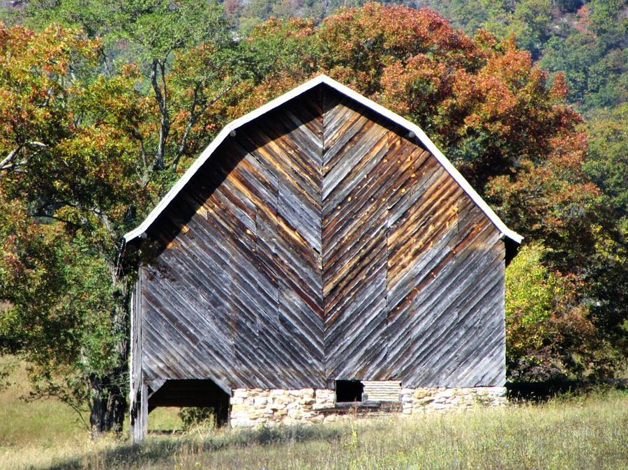 Fall Photograph - Unique Barn by Christine Bradley