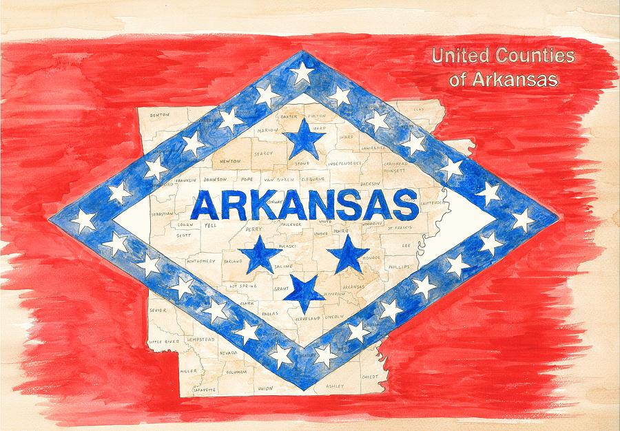 Usa Painting - United Counties Of Arkansas by Egil Viesturson