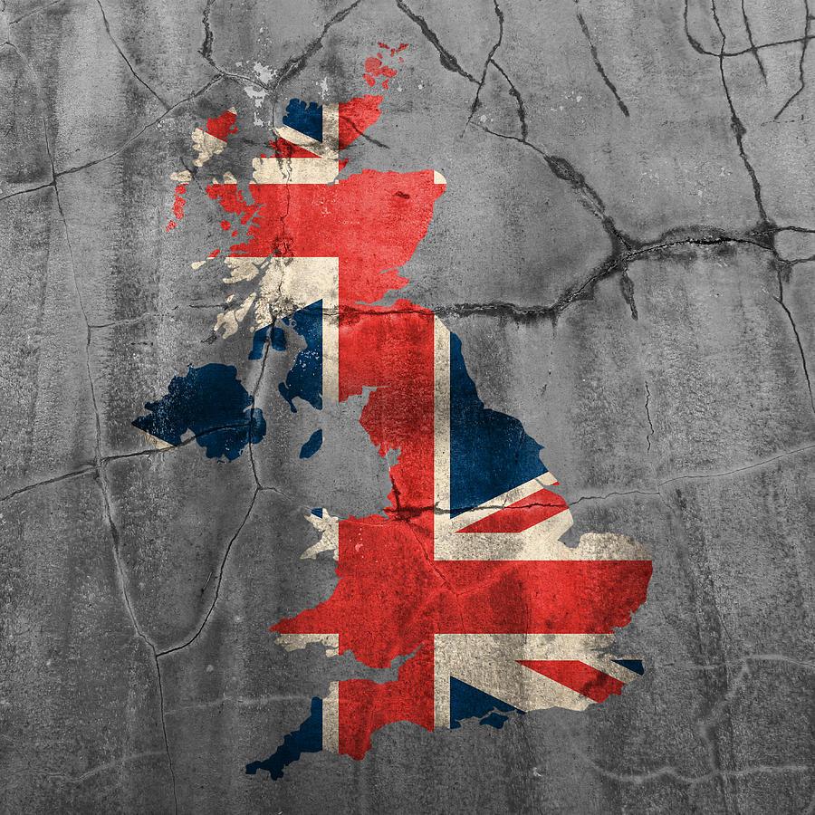 United Kingdom Uk Union Jack Flag Country Outline Painted