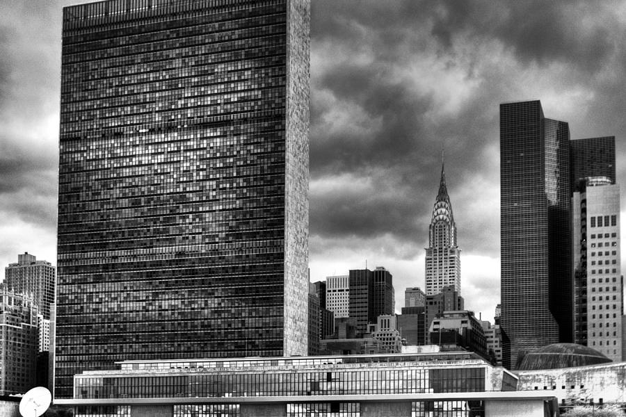 United Nations and Chrysler Building by Dave Beckerman