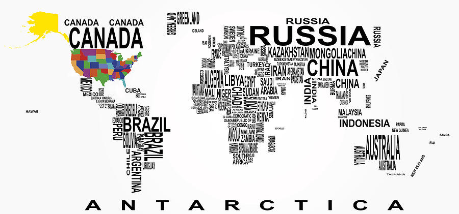 Geography Digital Art - United States And The Rest Of The World In Text Map by Daniel Hagerman