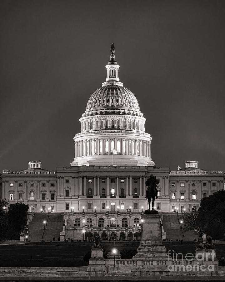 Washington Photograph - United States Capitol At Night by Olivier Le Queinec