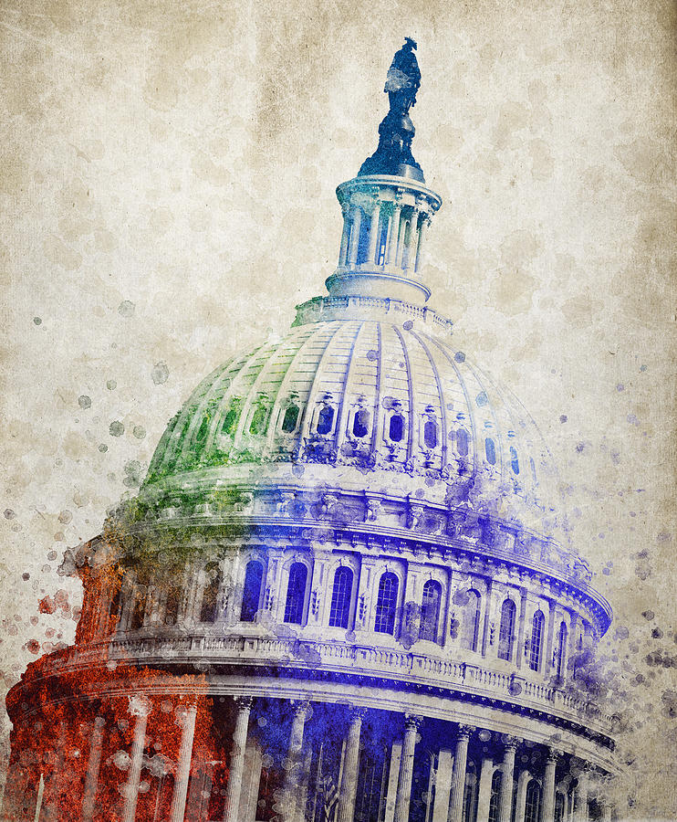 United States Capitol Digital Art - United States Capitol Dome by Aged Pixel
