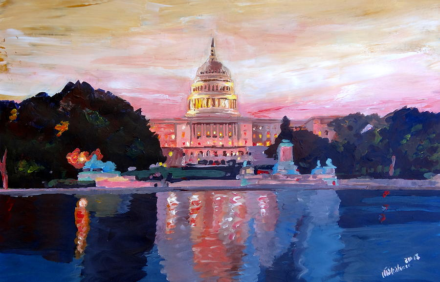 Washington Dc Painting - United States Capitol In Washington D.c. At Sunset by M Bleichner