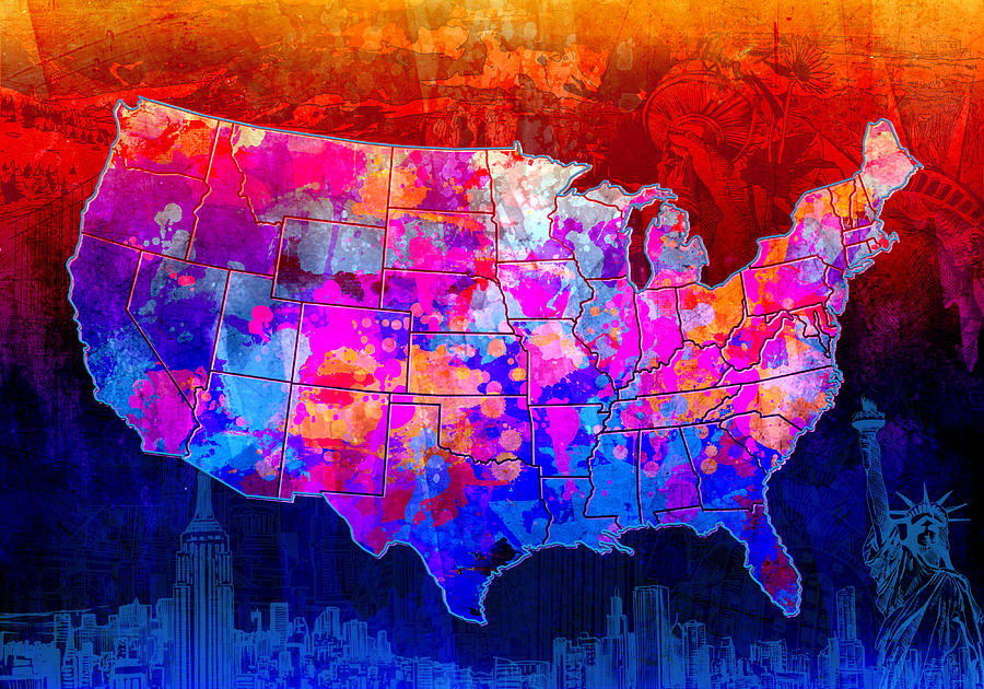 map painting united states colorful map collage by bekim art