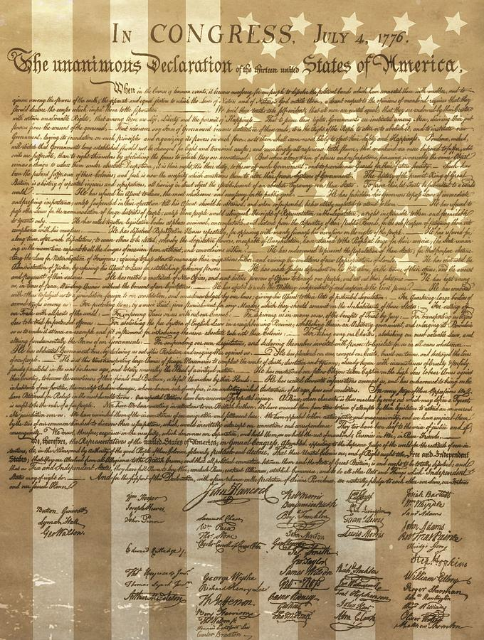 Declaration Of Independence Mixed Media - United States Declaration Of Independence by Dan Sproul