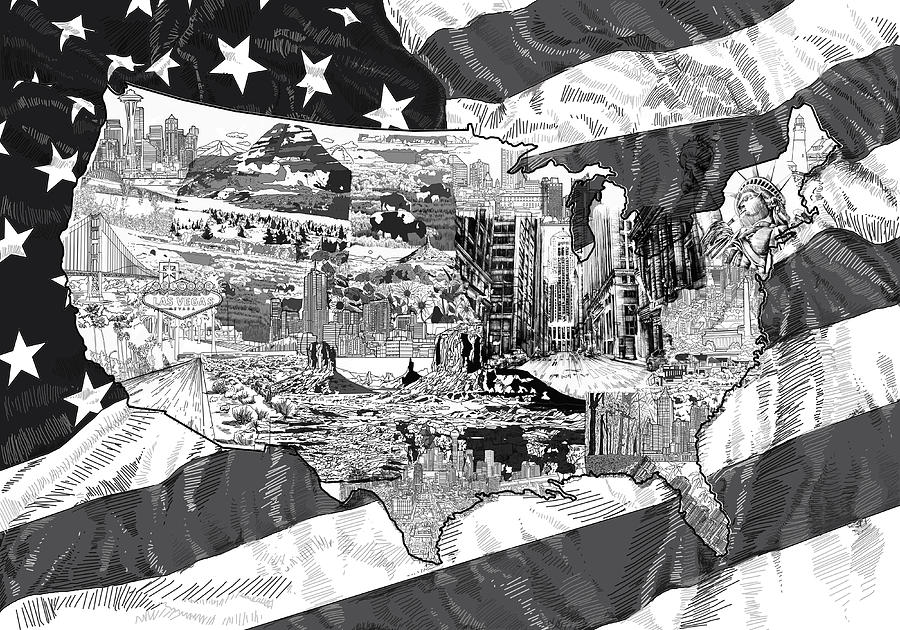 United States Drawing Collage Map Digital Art By Bekim Art - Sketch drawing us with states map