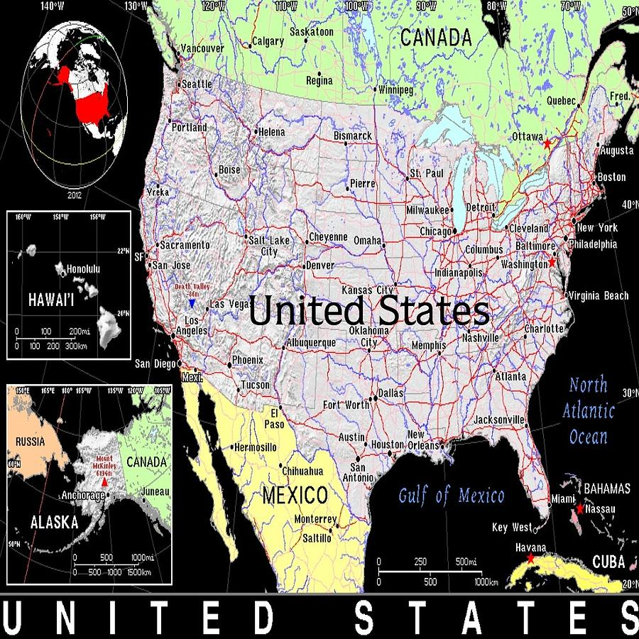 United States Exotic Map Mixed Media By Florene Welebny